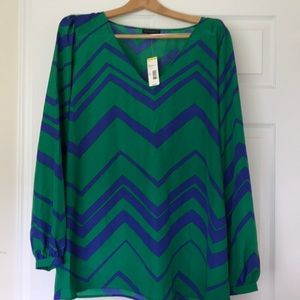 Blue and green chevron top